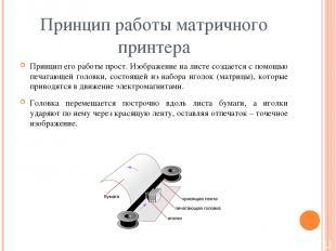 Принцип работы матричного принтера Принцип его работы прост. Изображение на лист