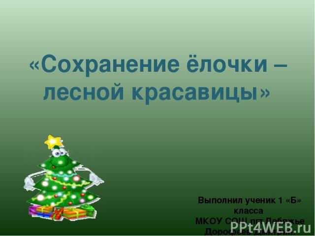 «Сохранение ёлочки – лесной красавицы» Выполнил ученик 1 «Б» класса МКОУ СОШ пгт Лебяжье Дорофеев Дмитрий.