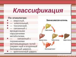 Классификация По этиологии: — вирусный, — алкогольный, — токсический, — связанны