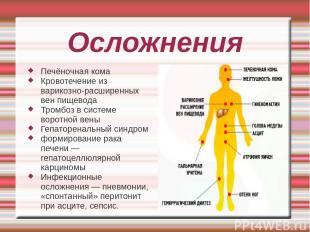 Осложнения Печёночная кома Кровотечение из варикозно-расширенных вен пищевода Тр
