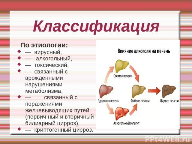 Классификация По этиологии: — вирусный, — алкогольный, — токсический, — связанный с врожденными нарушениями метаболизма, — связанный с поражениями желчевыводящих путей (первич ный и вторичный билиарный цирроз), — криптогенный цирроз.
