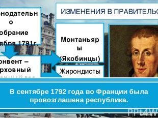 Законодательно Собрание 1октября 1791г. ИЗМЕНЕНИЯ В ПРАВИТЕЛЬСТВЕ Конвент – верх