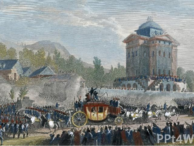 Многие дворяне бежали за границу в надежде, что к ним присоединится король. Людовик XVI 20 июня 1791 года вместе с семьёй по поддельным документам хотел пересечь границу, но был пойман в местечке Варенн. Его обвинили в измене революции. Людовик XVI