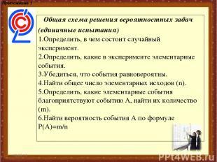 * * Приложение 1 Общая схема решения вероятностных задач (единичные испытания) О