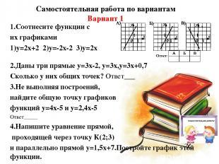 Самостоятельная работа по вариантам Вариант 1 1.Соотнесите функции с их графикам