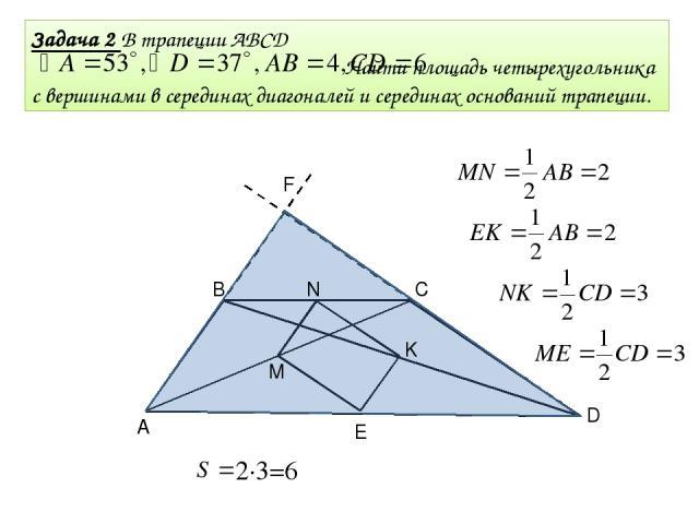 Задача 2 В трапеции ABCD Найти площадь четырехугольника с вершинами в серединах диагоналей и серединах оснований трапеции. В С D F М N K E A 2∙3=6