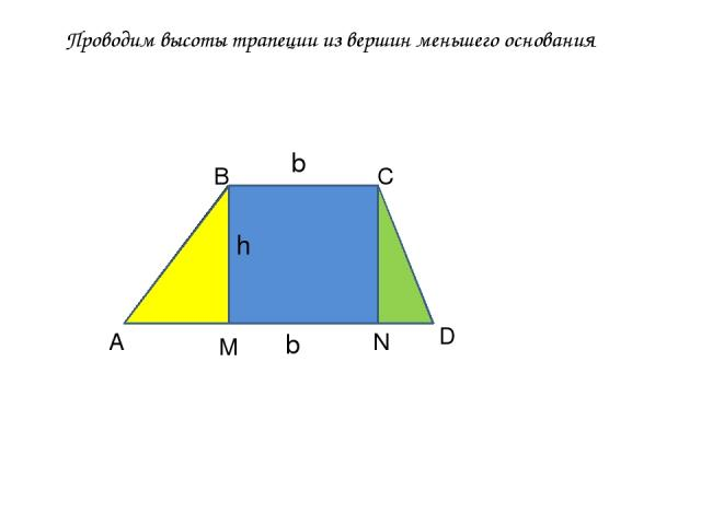 Проводим высоты трапеции из вершин меньшего основания А В С D M N h b b