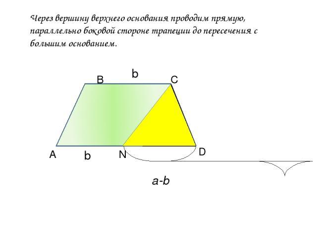 Через вершину верхнего основания проводим прямую, параллельно боковой стороне трапеции до пересечения с большим основанием. А В С D N b b a-b