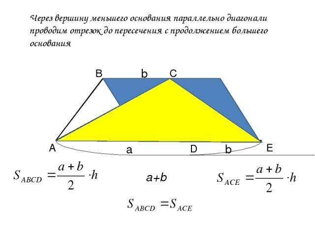 А В С Через вершину меньшего основания параллельно диагонали проводим отрезок до пересечения с продолжением большего основания Е D a b h b a+b