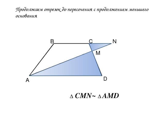 Продолжаем отрезок до пересечения с продолжением меньшего основания А В С D M N Δ CMN~ Δ AMD