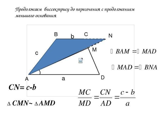 Продолжаем биссектрису до пересечения с продолжением меньшего основания А В С D M N Δ CMN~ Δ AMD a c CN= c-b b