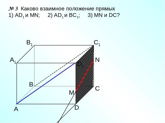 А D С В B1 С1 D1 А1 № 3 Каково взаимное положение прямых 1) AD1 и МN; 2) AD1 и ВС1; 3) МN и DC? N M