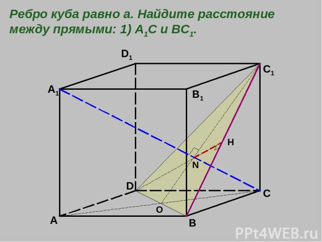 A B C D A1 B1 C1 D1 O N H Ребро куба равно а. Найдите расстояние между прямыми: 1) А1С и ВС1.
