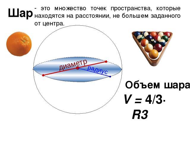 Шар - это множество точек пространства, которые находятся на расстоянии, не большем заданного от центра. V = 4/3∙ πR3 Объем шара: диаметр радиус
