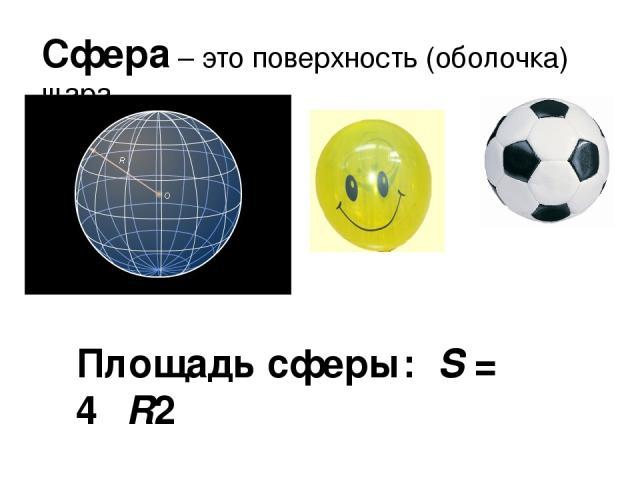Сфера – это поверхность (оболочка) шара. Площадь сферы: S = 4πR2