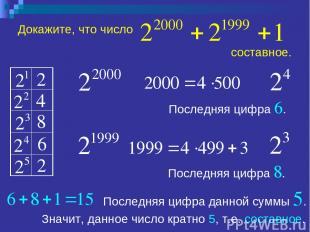 Докажите, что число Последняя цифра 8. Последняя цифра 6. Последняя цифра данной
