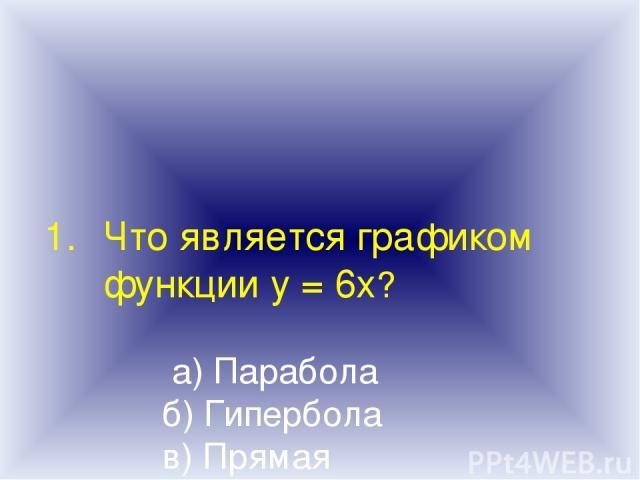 Что является графиком функции у = 6х? а) Парабола б) Гипербола в) Прямая г) Ветвь параболы