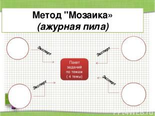 """Метод """"Мозаика» (ажурная пила) Пакет заданий по темам ( 4 темы) Эксперт Эксперт"""