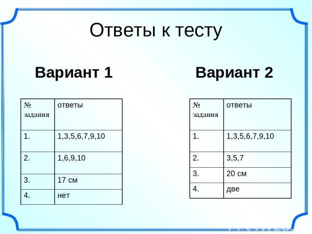 Ответы к тесту Вариант 1 Вариант 2 № задания ответы 1. 1,3,5,6,7,9,10 2. 1,6,9,10 3. 17 см 4. нет № задания ответы 1. 1,3,5,6,7,9,10 2. 3,5,7 3. 20 см 4. две