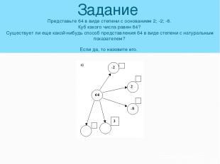 Задание Представьте 64 в виде степени с основанием 2; -2; -8. Куб какого числа р