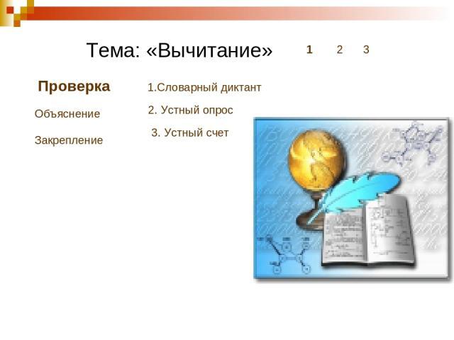 Тема: «Вычитание» 1 2 3 Проверка Объяснение Закрепление 1.Словарный диктант 2. Устный опрос 3. Устный счет