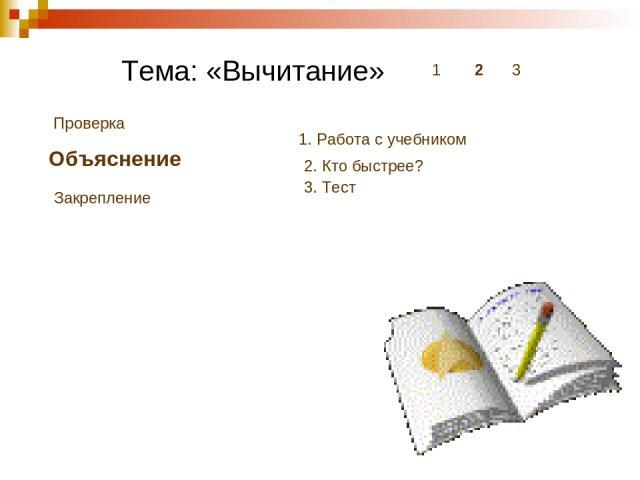 Тема: «Вычитание» 1 2 3 Проверка Объяснение Закрепление 1. Работа с учебником 2. Кто быстрее? 3. Тест