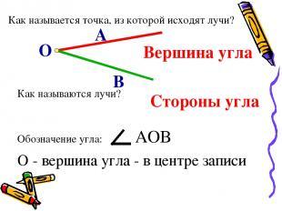 Как называется точка, из которой исходят лучи? О А В Как называются лучи? Вершин