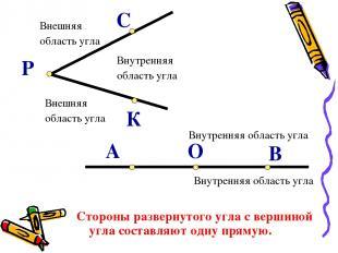 Внутренняя область угла Внешняя область угла Внешняя область угла В О А Р К С Ст