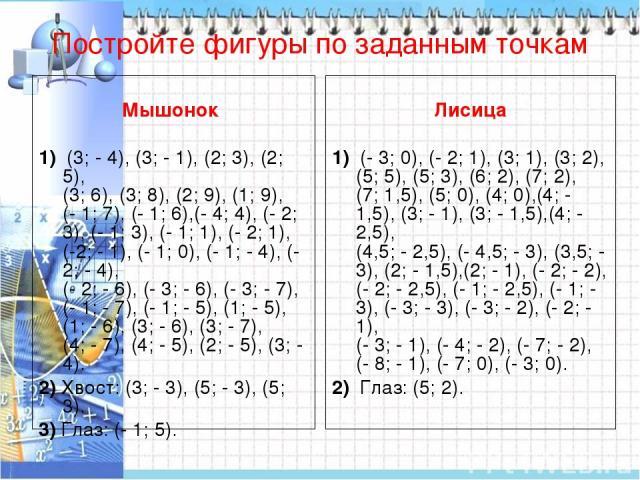 Постройте фигуры по заданным точкам Мышонок  1) (3; - 4), (3; - 1), (2; 3), (2; 5), (3; 6), (3; 8), (2; 9), (1; 9), (- 1; 7), (- 1; 6),(- 4; 4), (- 2; 3), (- 1; 3), (- 1; 1), (- 2; 1), (-2; - 1), (- 1; 0), (- 1; - 4), (- 2; - 4), (- 2; - 6), (- 3; …