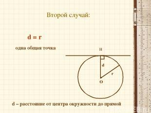 Второй случай: О Н r одна общая точка d = r d – расстояние от центра окружности