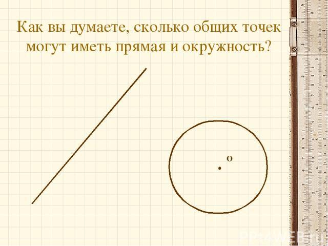 Как вы думаете, сколько общих точек могут иметь прямая и окружность? О