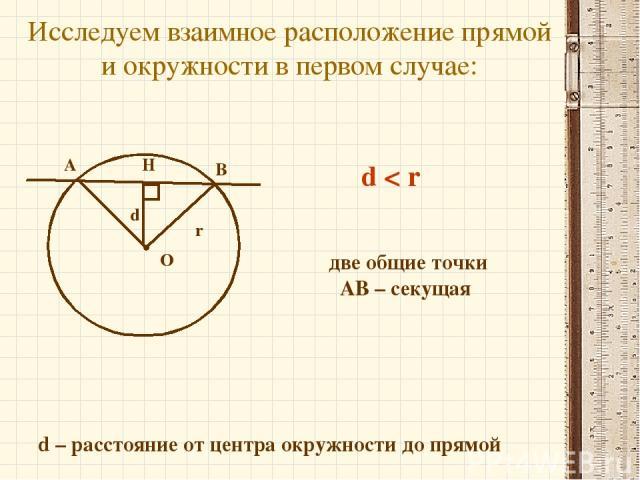 Исследуем взаимное расположение прямой и окружности в первом случае: d – расстояние от центра окружности до прямой О А В Н d < r две общие точки АВ – секущая r d