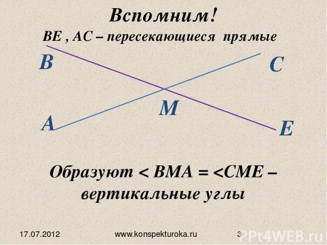 17.07.2012 www.konspekturoka.ru Вспомним! Образуют < BMA =