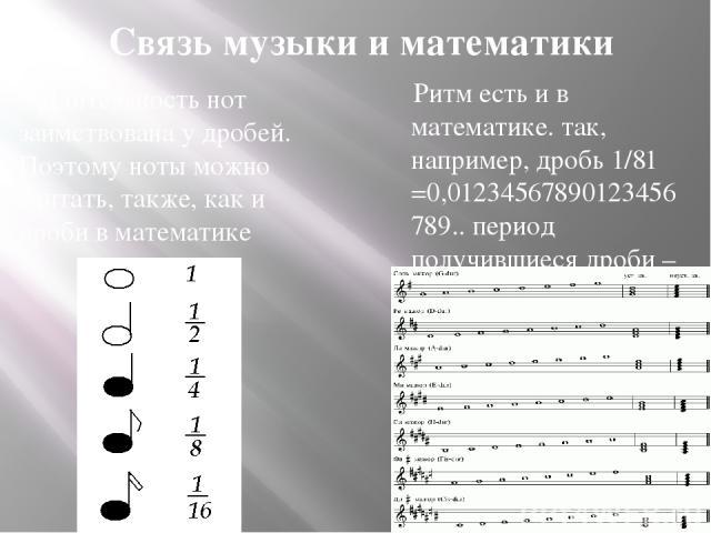 Длительность нот заимствована у дробей. Поэтому ноты можно считать, также, как и дроби в математике Связь музыки и математики Ритм есть и в математике. так, например, дробь 1/81 =0,01234567890123456789.. период получившиеся дроби – её ритм