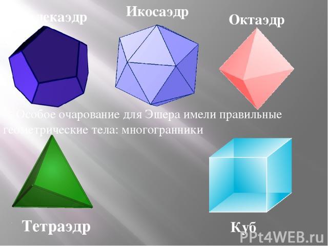 Особое очарование для Эшера имели правильные геометрические тела: многогранники Тетраэдр Куб Додекаэдр Октаэдр Икосаэдр
