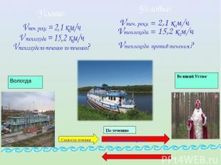 Собственная скорость Вологда Скорость течения Великий Устюг По течению Условие: