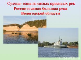 Сухона- одна из самых красивых рек России и самая большая река Вологодской облас