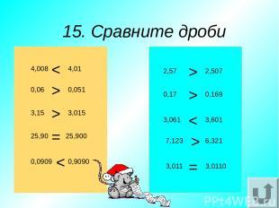 15. Сравните дроби 4,008 3,15 25,90 0,0909 0,9090 25,900 3,015 0,051 4,01 0,06 3