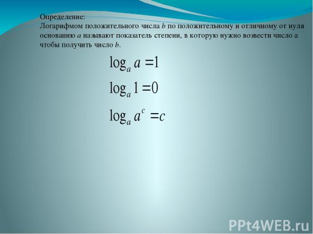 Определение: Логарифмом положительного числа b по положительному и отличному от нуля основанию a называют показатель степени, в которую нужно возвести число а чтобы получить число b.