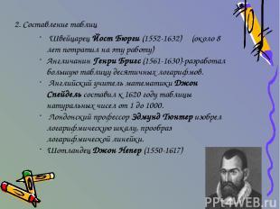 2. Составление таблиц Швейцарец Йост Бюрги (1552-1632) (около 8 лет потратил на