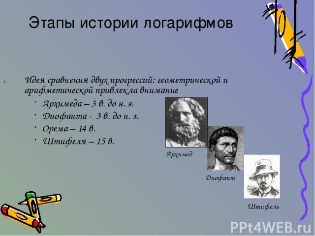 Идея сравнения двух прогрессий: геометрической и арифметической привлекла внимание Этапы истории логарифмов Архимеда – 3 в. до н. э. Диофанта - 3 в. до н. э. Орема – 14 в. Штифеля – 15 в. Архимед Диофант Штифель