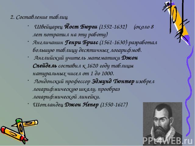 2. Составление таблиц Швейцарец Йост Бюрги (1552-1632) (около 8 лет потратил на эту работу) Англичанин Генри Бригс (1561-1630)-разработал большую таблицу десятичных логарифмов. Английский учитель математики Джон Спейдель составил к 1620 году таблицы…
