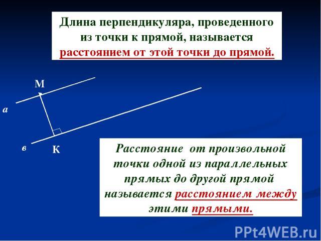 Длина перпендикуляра, проведенного из точки к прямой, называется расстоянием от этой точки до прямой. М а в К Расстояние от произвольной точки одной из параллельных прямых до другой прямой называется расстоянием между этими прямыми.
