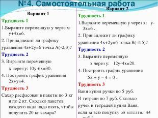 №4. Самостоятельная работа Вариант 1 Трудность 1 1.Выразите переменную у через х