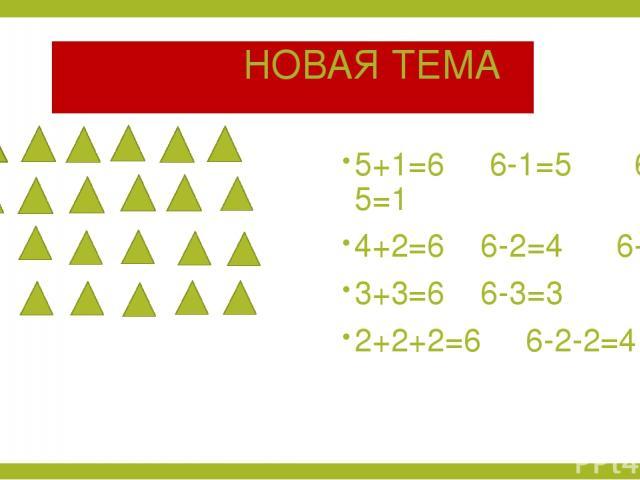 НОВАЯ ТЕМА 5+1=6 6-1=5 6-5=1 4+2=6 6-2=4 6-4=2 3+3=6 6-3=3 2+2+2=6 6-2-2=4
