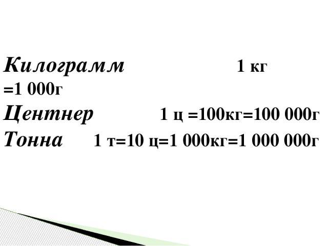 Килограмм 1 кг =1000г Центнер 1 ц =100кг=100000г Тонна 1 т=10 ц=1000кг=1000000г