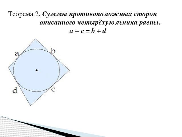 Теорема 2. Суммы противоположных сторон описанного четырёхугольника равны. a + c = b + d