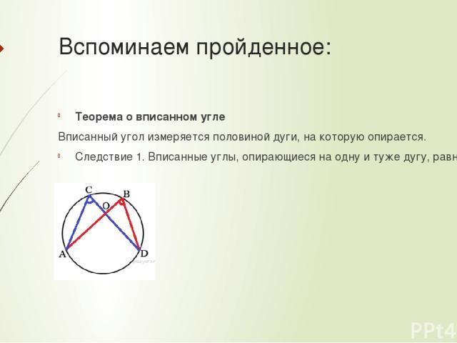 Вспоминаем пройденное: Теорема о вписанном угле Вписанный угол измеряется половиной дуги, на которую опирается. Следствие 1. Вписанные углы, опирающиеся на одну и туже дугу, равны