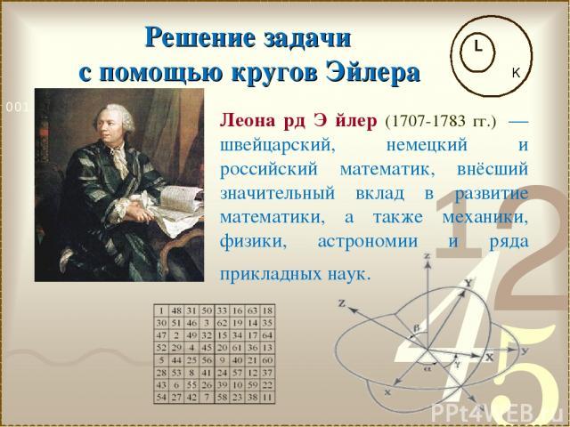 k Решение задачи с помощью кругов Эйлера Леона рд Э йлер (1707-1783 гг.) — швейцарский, немецкий и российский математик, внёсший значительный вклад в развитие математики, а также механики, физики, астрономии и ряда прикладных наук.