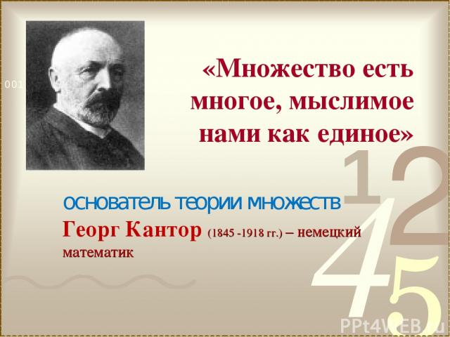 основатель теории множеств Георг Кантор (1845 -1918 гг.) – немецкий математик «Множество есть многое, мыслимое нами как единое»
